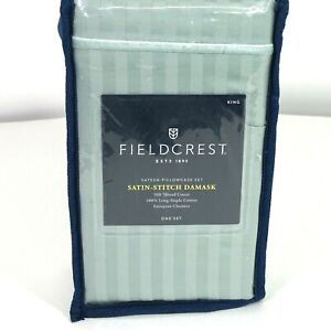 Fieldcrest King Pillowcase Set Satin Stitch Damask 500 Thread Ct Smoke Green NEW