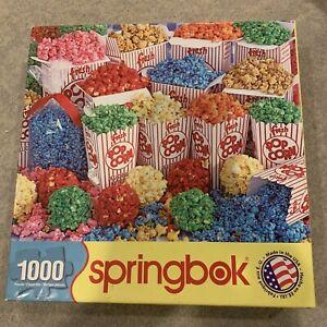 "Springbok Jigsaw Puzzle 1000 Piece ""Technicolor Treats"" Popcorn 2013 READ"