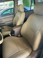 TOYOTA 4RUNNER 1996-2002 BEIGE S.LEATHER CUSTOM MADE FIT FRONT SEAT COVERS