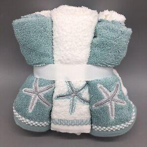 Coastal Collection Beach Starfish Washcloth Set 6 Embroidered Aqua Green White