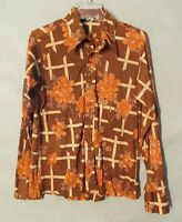 W5711 Vintage Santee Of California Original Mens Orange/Brown Long Sleeve Shirt