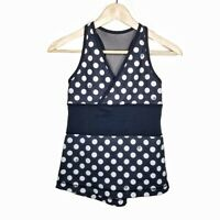 Lululemon Sz 6 Origami Deep V Tank II Top Athletic Shirt Black Polka Dots #2250