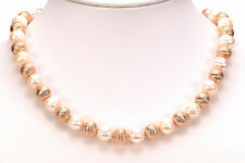 "Honora Cultured White Pearl 10.0mm Rose Bronze Textured Bead 18"" Long Necklace"