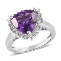 925 Sterling Silver Platinum Over Amethyst Zircon Halo Ring Gift Size 8 Ct 3.7
