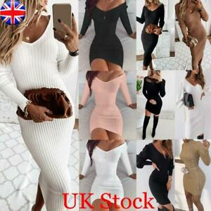 WOMEN LONG SLEEVE BODYCON DRESS LADIES EVENING PARTY SWEATER JUMPER MINI DRESSES