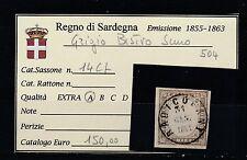 FRANCOBOLLI 1861 SARDEGNA 10 C. RADICOFANI 30/1 GRIGIO BISTRO SCURO A/6380
