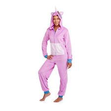 NEW Cute PINK Mystical UNICORN Cozy FLEECE Romper HOODED One Piece PJ Pajamas L