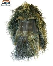 Camo Ghillie Hat Face Veil Cover Headnet Cap Hunting Shooting Mesh Woodland M/L
