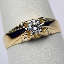 Victorian Solitaire Diamond Engagement Ring 14 kt Yellow Gold Size 8 #7620