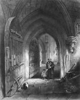 Somerset, WELLS CATHEDRAL CHURCH CRYPT ~ 1838 Architecture Art Print Engraving