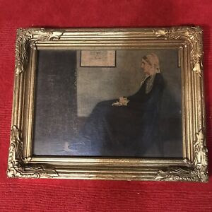 Rare Whistler's Mother Gold Framed Faux Paint Strokes Signed On Back 5/14/1939
