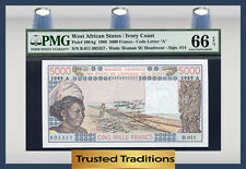 TT PK 108Ag 1989 WEST AFRICAN STATES 5000 FRANCS PMG 66 EPQ POP 1 FINEST KNOWN!