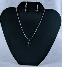 Cross Necklace Cubic Zirconia Stone Flat Chain Matching Earrings Silver Gift