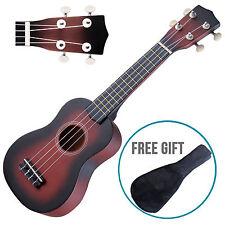 "21"" Wood Soprano Ukulele Guitar Sapele 12 Frets Hawaiian Instrument w/Carry Bag"