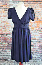 Topshop Navy 40's Style Tea Dress Tie Belt Cap Sleeve Wedding Occasion Size 8