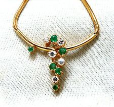 .76ct Natural Emeralds Diamonds Vine Snake Link Necklace 14 Karat