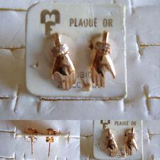 Belles boucles d'oreilles percées Main plaqué or cubic zirconiums 6X14mm