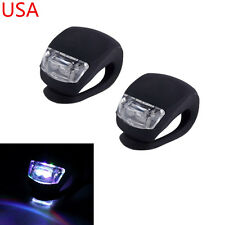 2X White LED Bicycle Bike Cycling Silicone Safety Front Head Light Flashing Lamp