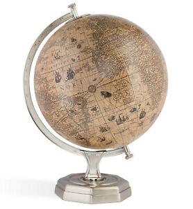 "Jodocus Hondius 1627 World Globe Pewter Finish Stand 17"" Nautical Tabletop Decor"