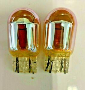 2x- 7440A Amber Chrome Signal Lamps!   Like Sylvania SilverStar