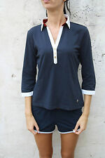 Marina Militare Ladies 3/4 Sleeved Navy Blue Polo Jumper Stretch Top Authentic L