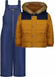 Osh Kosh B'gosh Boys Mustard & Navy 2pc Snowsuit Size 2T 3T 4T 4 5/6 7