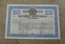 Fidelity Trust Company MD 1924 Stock Certificate