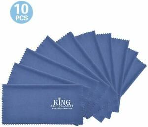 King of Flash 10 x Blue Superfine Microfiber Cleaning Cloths For Mobile Phones