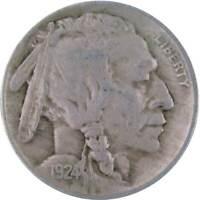 1924 5c Indian Head Buffalo Nickel US Coin F Fine