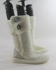 white  knitting man made wool flat comfortable  mid-calf boots Size.  5