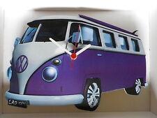 Purple Surf Split Screen Design Classic VW Camper Van Wall Clock. New & Boxed