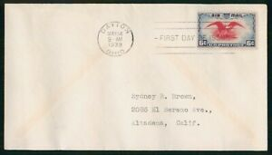 Mayfairstamps US FDC 1938 Air Mail 6 cents Eagle First Day Cover wwo_00381