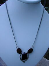 NEW Silver Ruby And Onyx  Necklace
