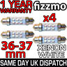 4x 36mm NUMBER PLATE INTERIOR LIGHT FESTOON BULB 4 LED XENON WHITE 239 272 C5W