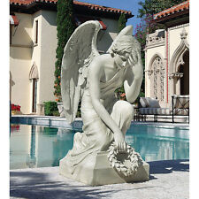 19th Century Italian Bowed Angel Sculpture Home Garden Grand Statue