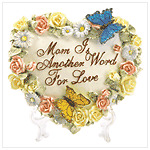 HEART SHAPED PLAQUE WITH FLOWERS BUTTERFLIES NIB #37782