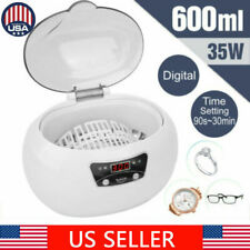 600ML Digital Ultrasonic Cleaner Jewelry Stainless Watch Cleaning Machine 35W US