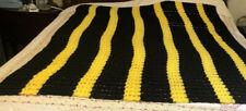 """Handmade Waffle Crochet  Steelers Color Afagan Throw Stadium blanket 68"""" X 52"""""""