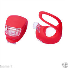 2X Red Silicone Bike Bicycle Cycling Head Front Rear waterproof  LED light lamp