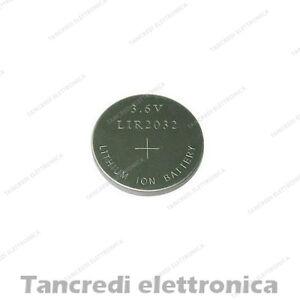 Batteria ricaricabile LIR 2032 litio bottone rechargeable coin battery lithium