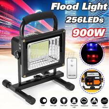 900W 256 LED Portable Rechargeable Flood Spot Light Lawn Work Flash Lamp