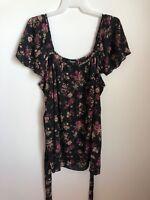 Chelsea Studio Plus Size 34/36 4X Floral Pattern Layered Black Top Blouse Shirt
