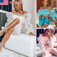Women Cropped Tops Sheer Tee Casual T-shirts Mesh Puff Sleeve Blouse Slim Fit US