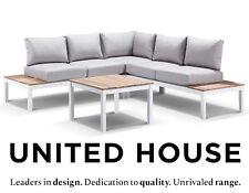 White Aluminium Outdoor Modular Corner Lounge Teak Timber Table Furniture Set