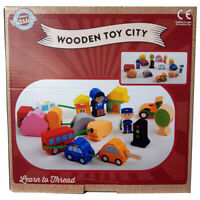 Wooden Toy Set - Threading City Blocks Kids Educational Activity 18 Months+