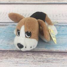 "2004 Mattel Pound Puppies Dog Plush 6"" Stuffed Animal Tan Black White H0014 NWT"