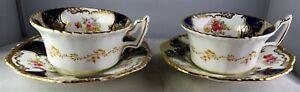Pair Of Antique Coalport Soft Paste Cobalt & Heavy Gold HP Floral Tea Cup Sets