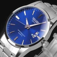 Mens Watch Stainless Steel Band Date Analog Quartz Sport Wrist Watch Army #C Jб