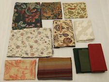 Upholstery Tapestry Fabric Lot of 12 Pieces Flowers Leaves Green Different Sizes