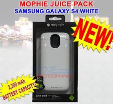 NEW MOPHIE JUICE PACK BATTERY CASE FOR SAMSUNG GALAXY S4 - 2,300 mAh WHITE NEW!